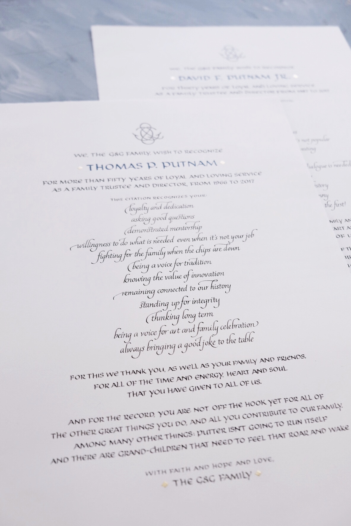 Custom Certificate of Recognition in uncial and italic calligraphy | design and calligraphy by Chavelli www.chavelli.com