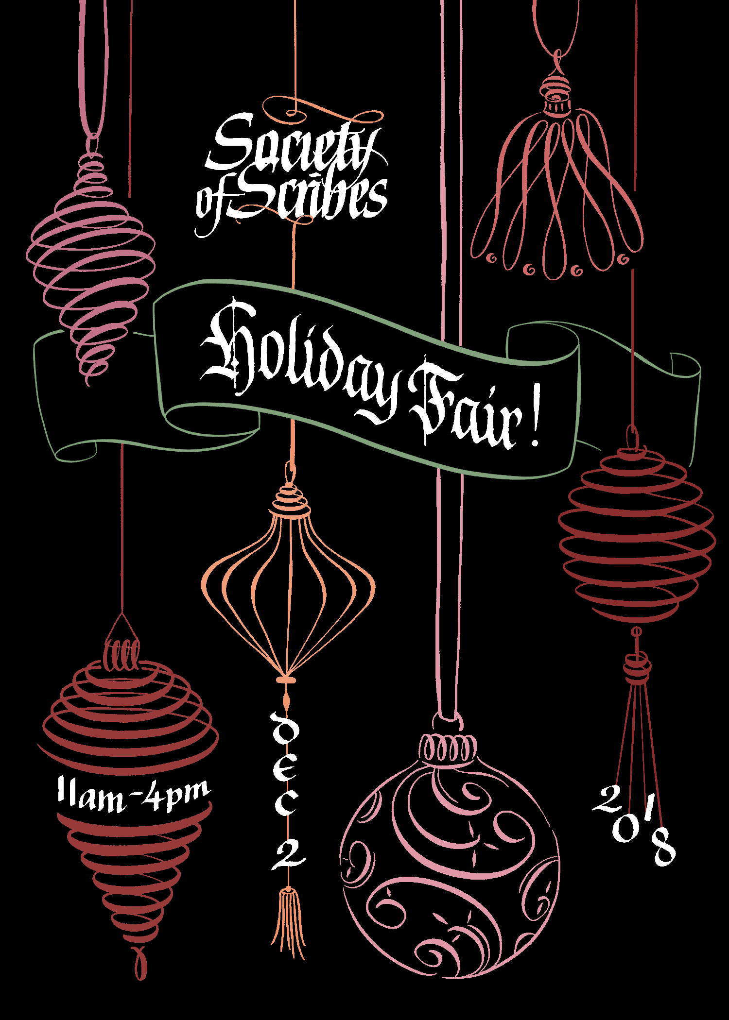 Society of Scribes Holiday Fair postcard flyer. Designed entirely with calligraphic strokes and lines | by Chavelli www.chavelli.com