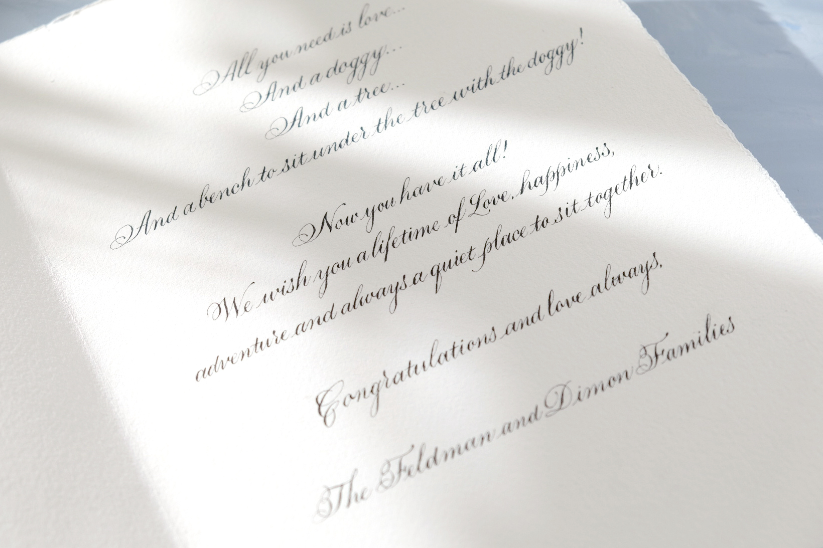 Wedding card written in calligraphy | by Chavelli www.chavelli.com