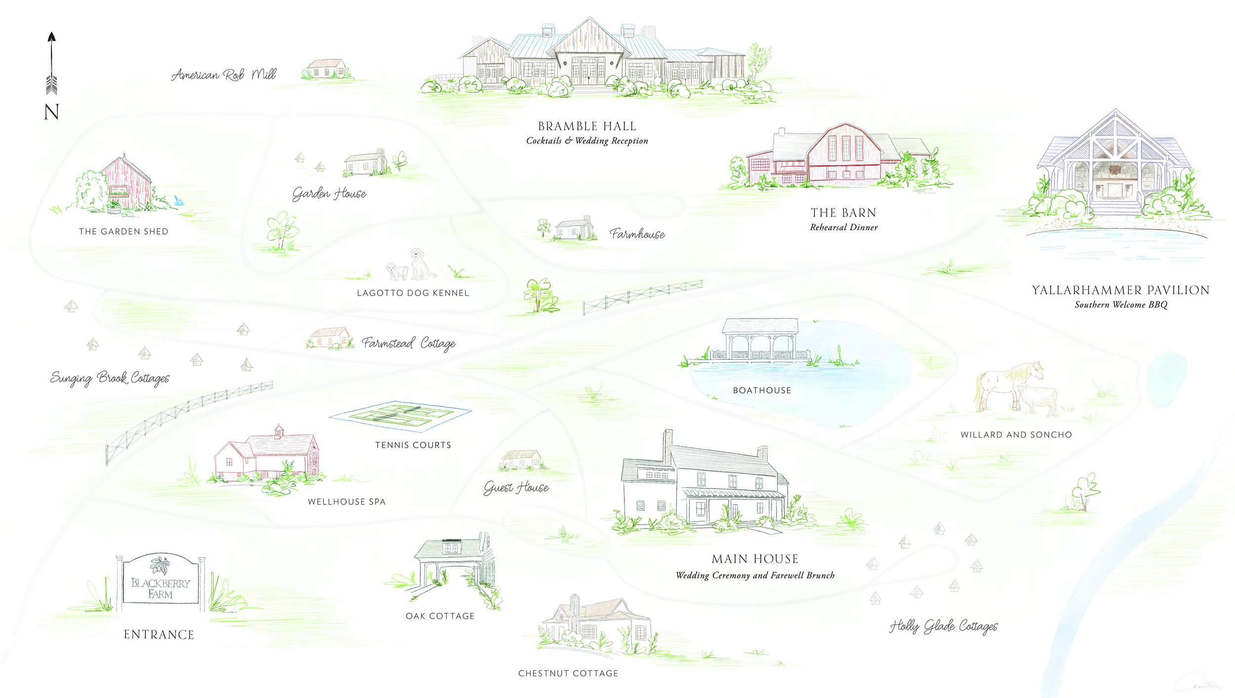 Blackberry Farm custom venue illustration | by www.chavelli.com