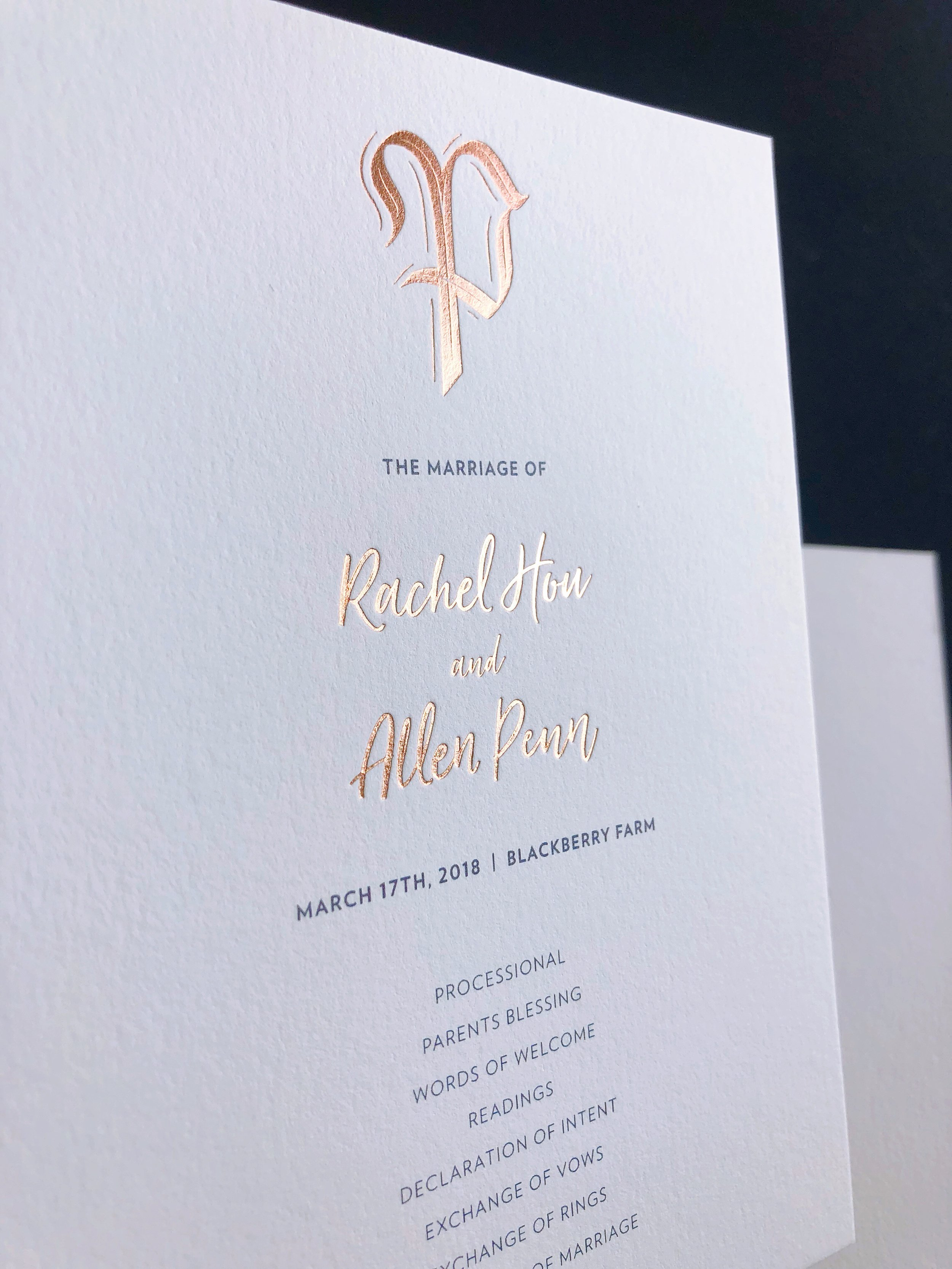 Wedding program with rose gold foil stamp and monogram | by Chavelli www.chavelli.com