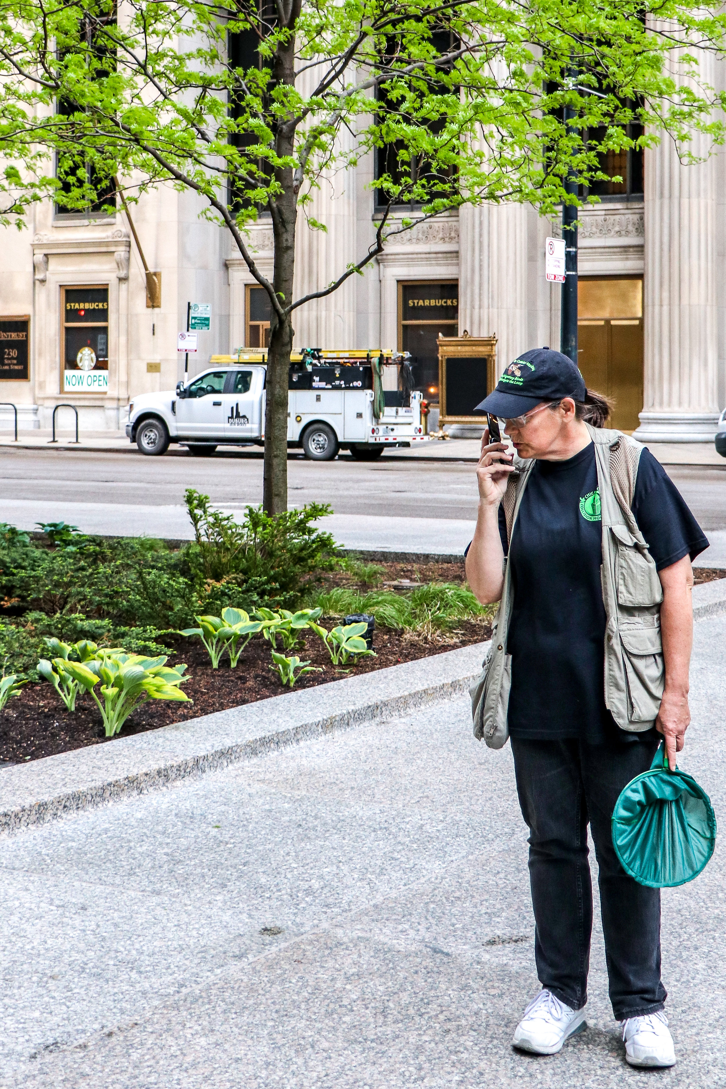 Annette Prince answers a call made to the Chicago Bird Collision Monitors about an injured bird in downtown Chicago.