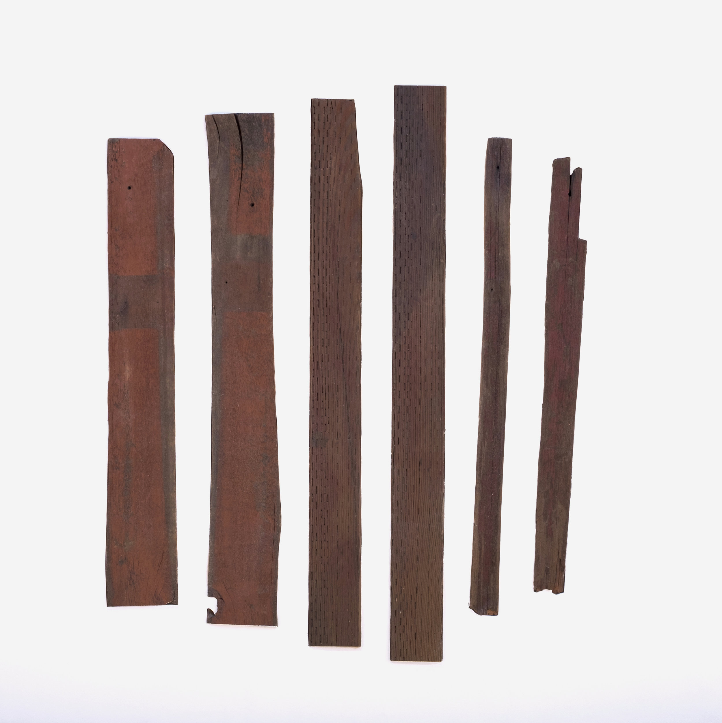 "Nearby Stood Six Wooden Fence Posts   Found wood inlayed into painted plywood  48"" x 48""  2018"