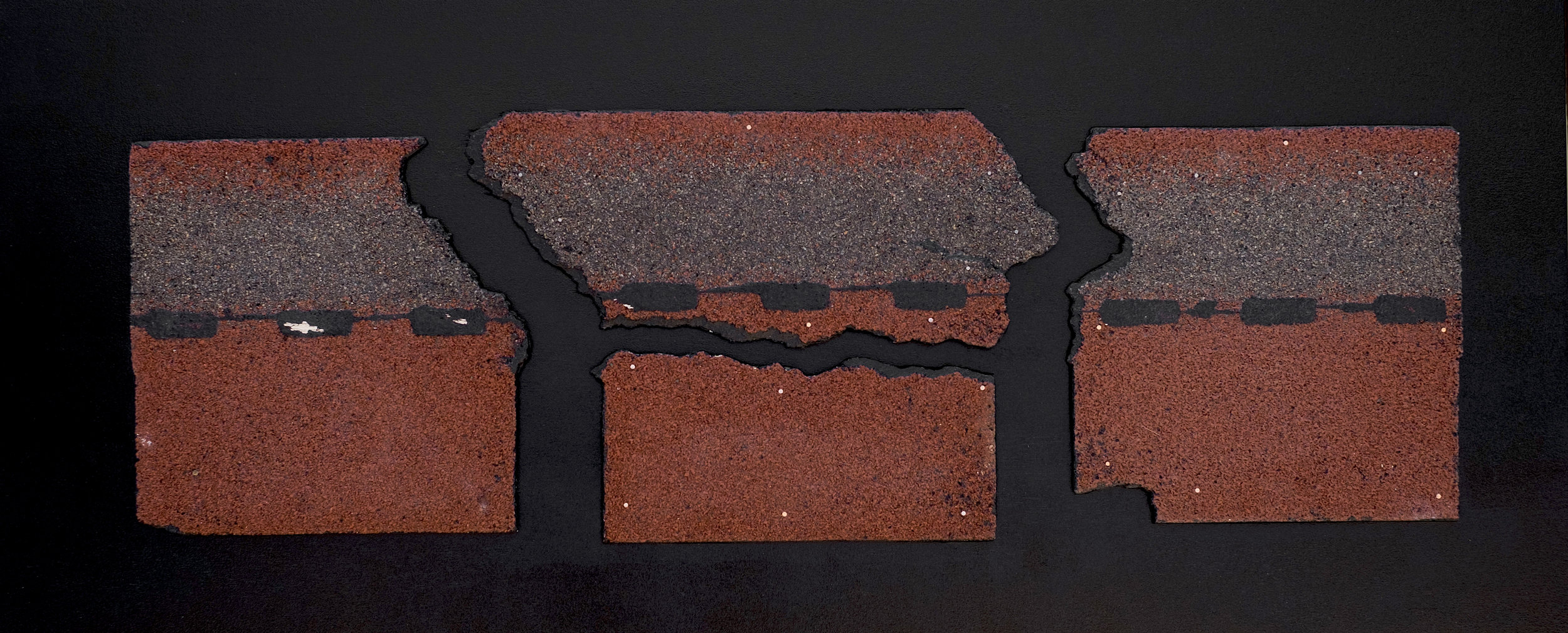 "A Roof, A River, A Road   Found roof tiles, enamel, plywood  20"" x 48""  2018"