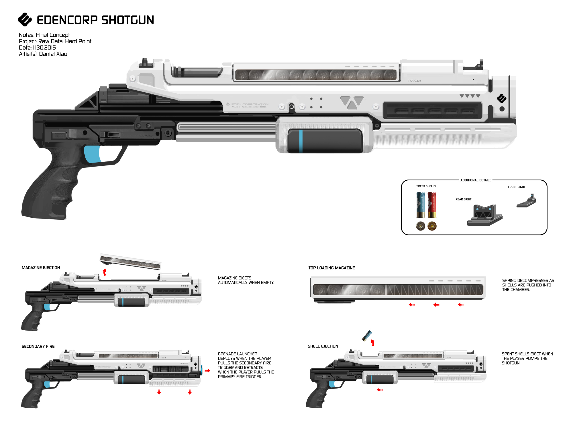 Concept art for the Eden Corp shotgun with a magazine design inspired by a classic real-world gun, the FN P90.