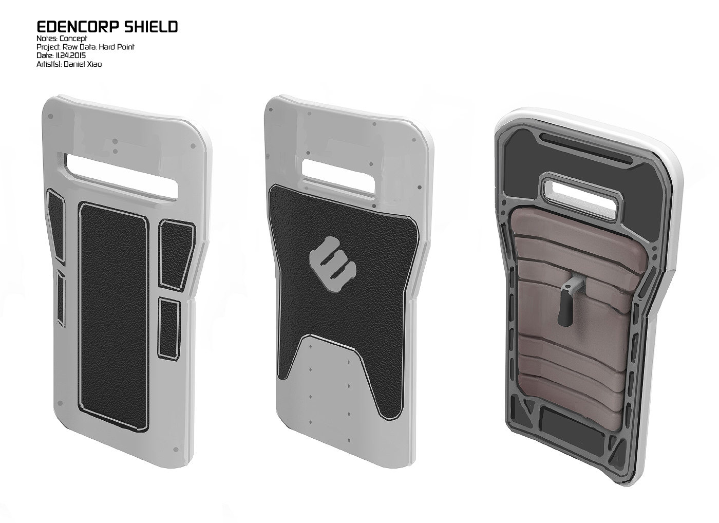 Concepts for a destructible riot shield that never made it into the game.