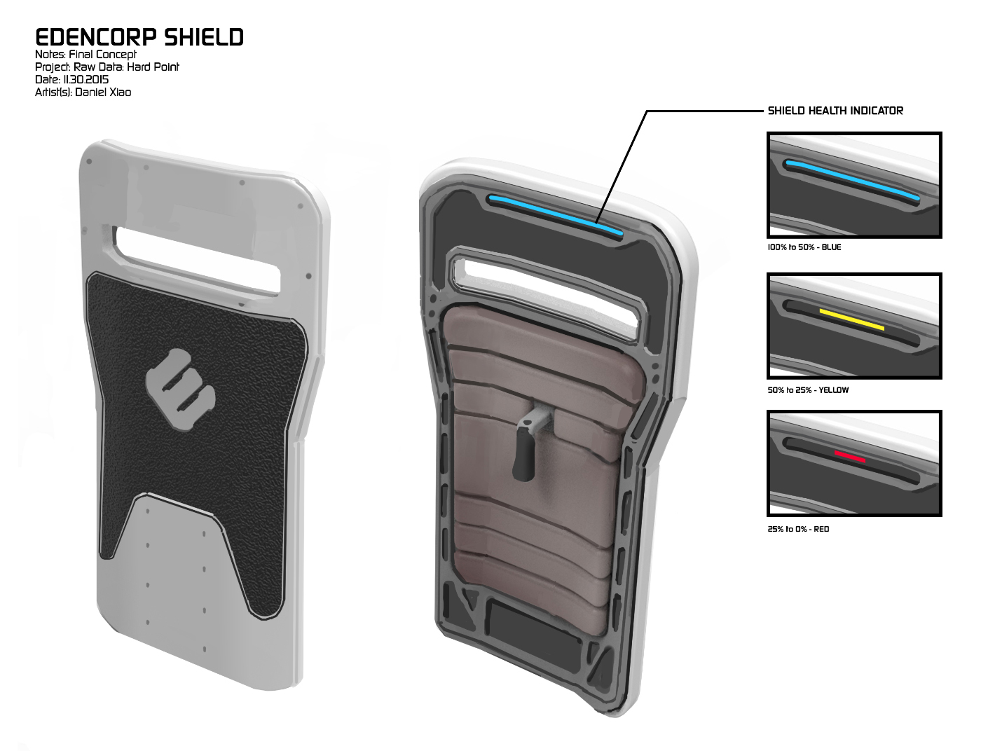 A concept for a destructible riot shield that never made it into the game. The colored indicator allowed players to keep an eye on remaining shield health while in use.