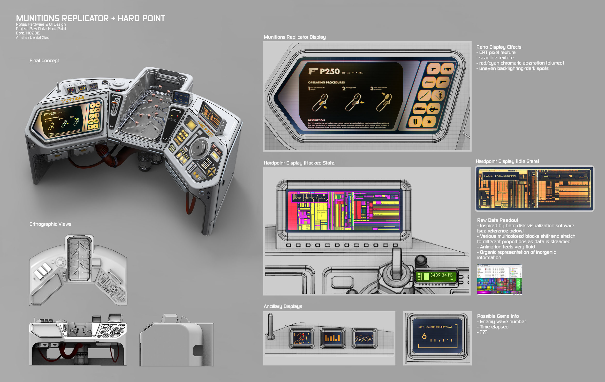 Concept art for the Operations Terminal. I built the base mesh in Fusion 360 then exported and rendered in Keyshot and Photoshop.  The original styling for the touch screen UI interface was inspired by the LCARS design from TNG.