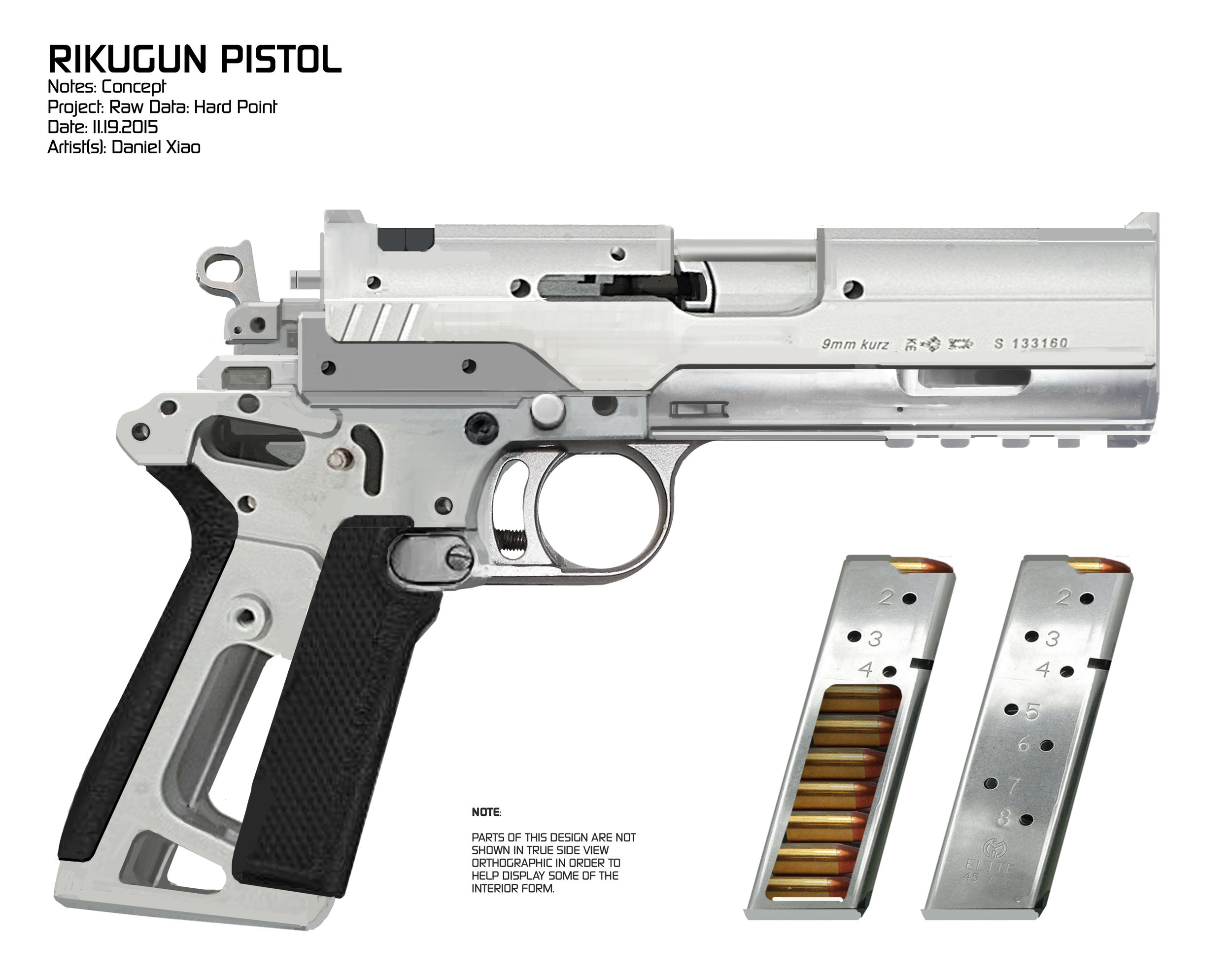 Concept art for Bishop's pistol which featured a hollowed out magazine that allowed the player to watch bullets deplete in real-time. Definitely one of the more engaging details to experience in VR.