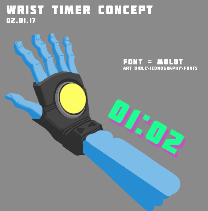 A concept for a wrist timer that was scrapped due to being rarely seen by the player after play testing.