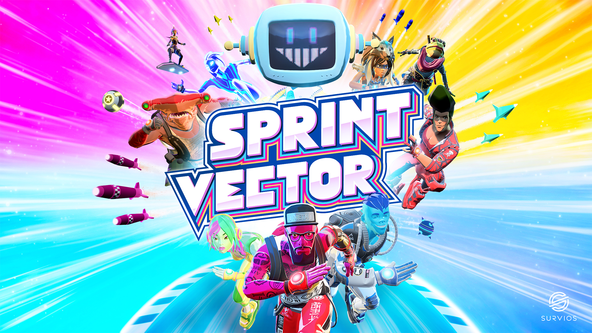 Sprint Vector cover art featuring all of the characters I designed for the game.
