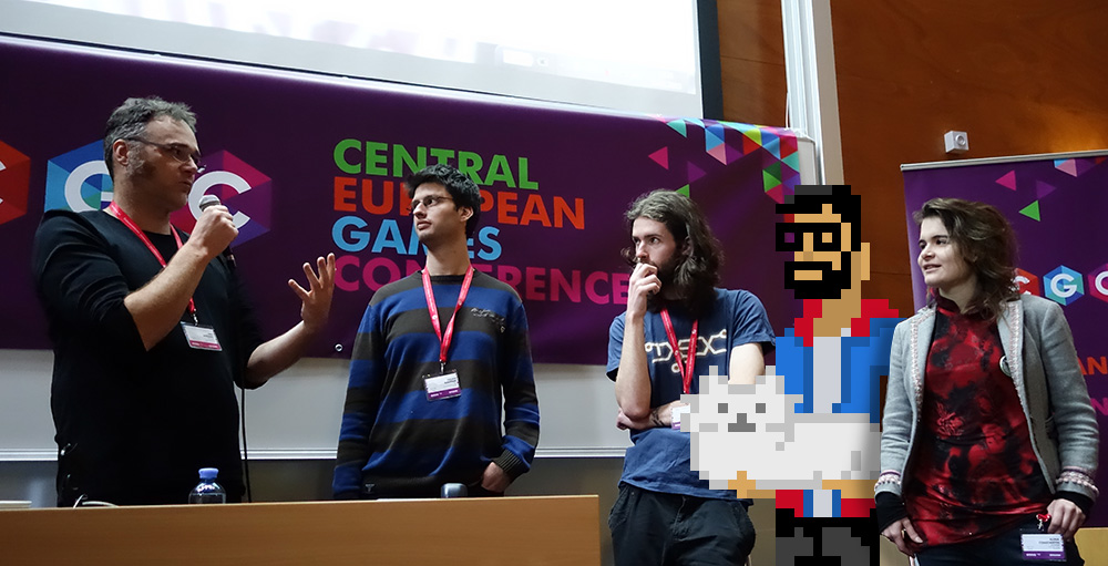 Tscherno photobombs a speakers panel at the Central European Games Conference / Photocredit: www.cegconf.com
