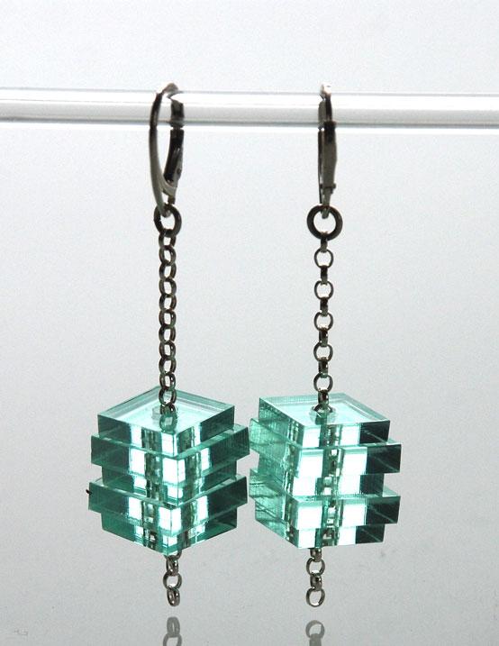 Long drop earrings.    Plexiglas on silver belcher chain.   €57