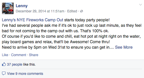 An open-invite to his family and friends for NYE fireworks.