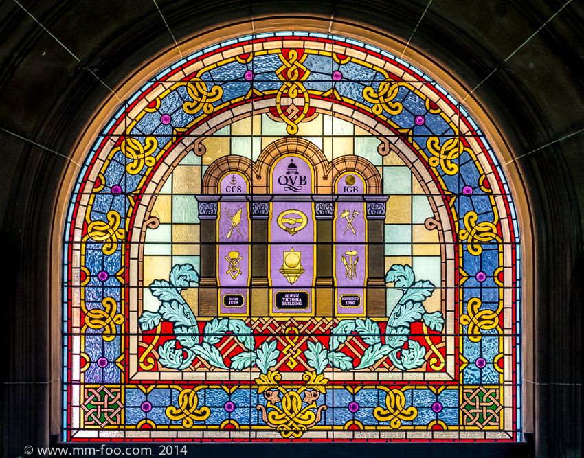 1/50 sec, 42mm, f/5.6, ISO500. QVB stained glass windows.