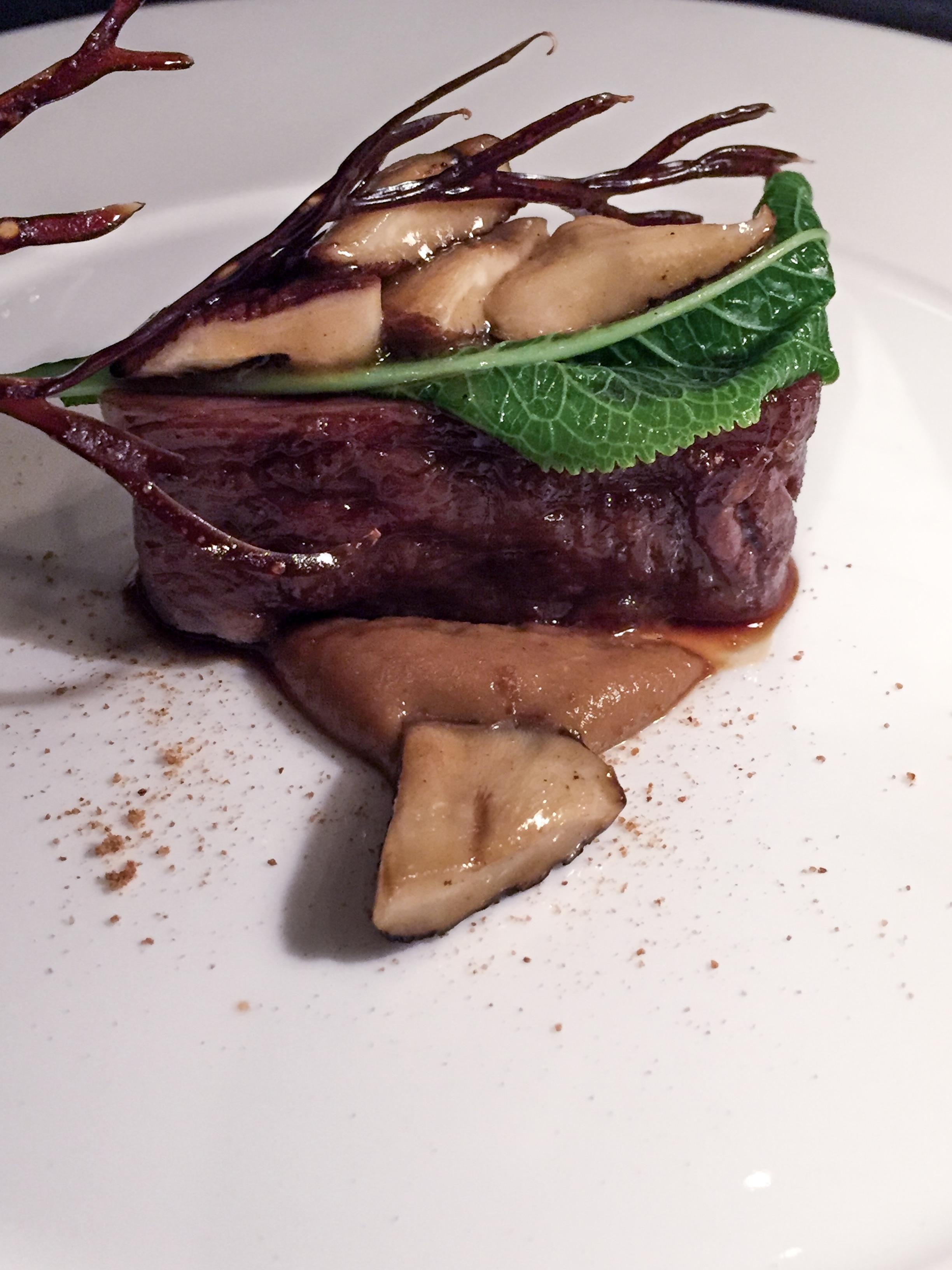 David Blackmore wagyu, shiitake mushroom, roasted onion and mustard, horseradish leaf, shiso