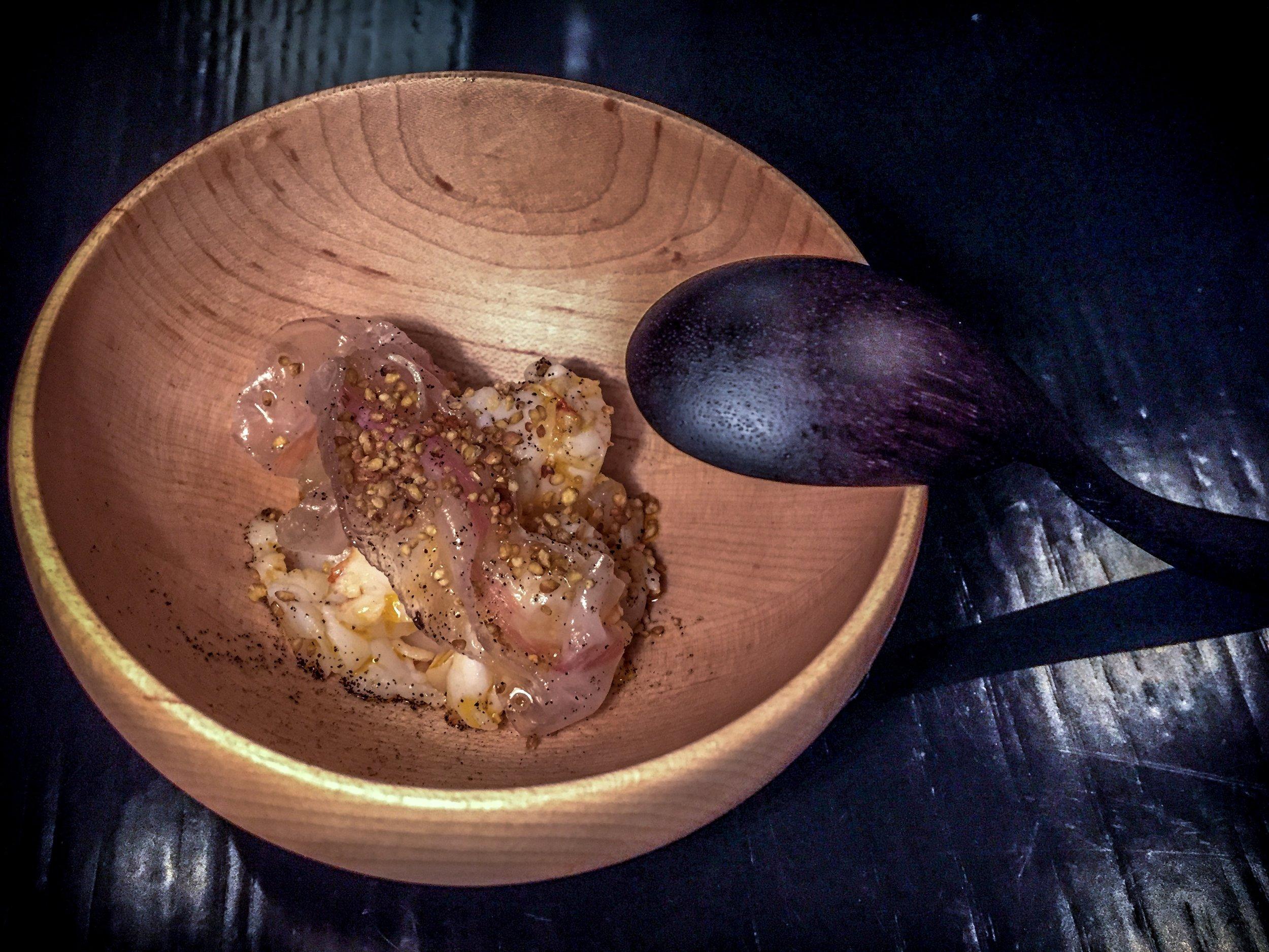 Scampi, jamon cream, pickled Barletta onions, cured pork cheek, sobacha.