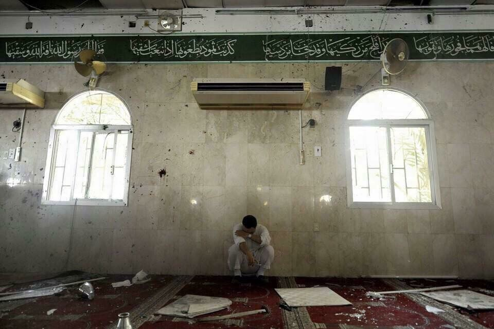 The Mosque wreck after the bombing  by the Saudi Photographer Hussain Al Redwan, known as Alwalaee.