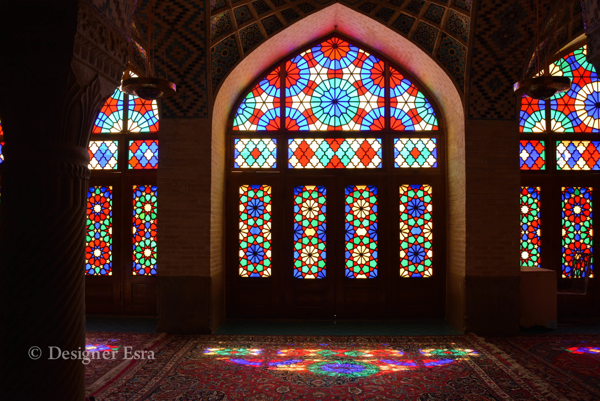 Stain glass reflection in Nasir Almulk Mosque ( Pink Mosque)