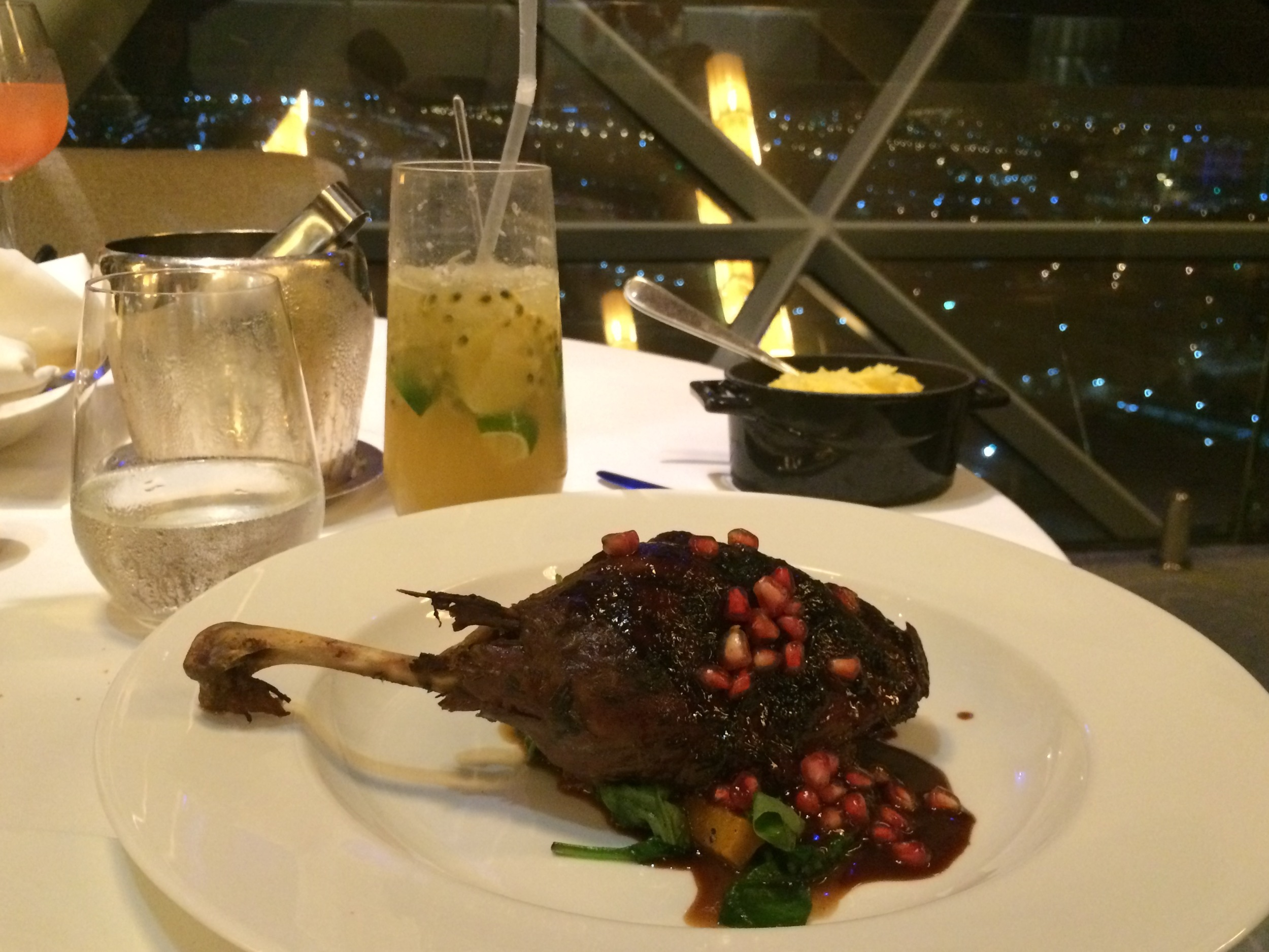 Delicious dinner at the 18 Degree Restaurant in Abu Dhabi