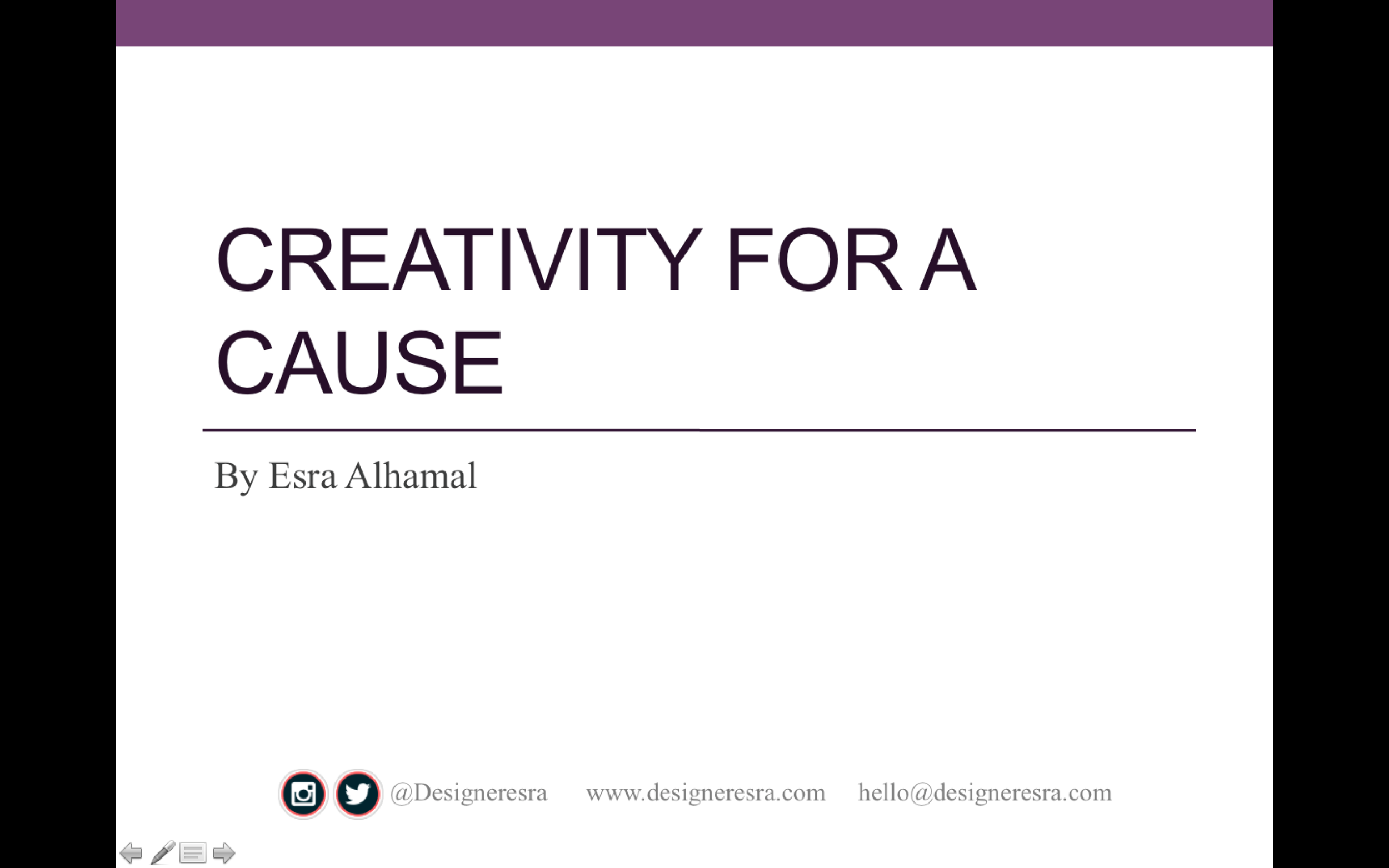 Motivational Talk for Creativity for a Cause