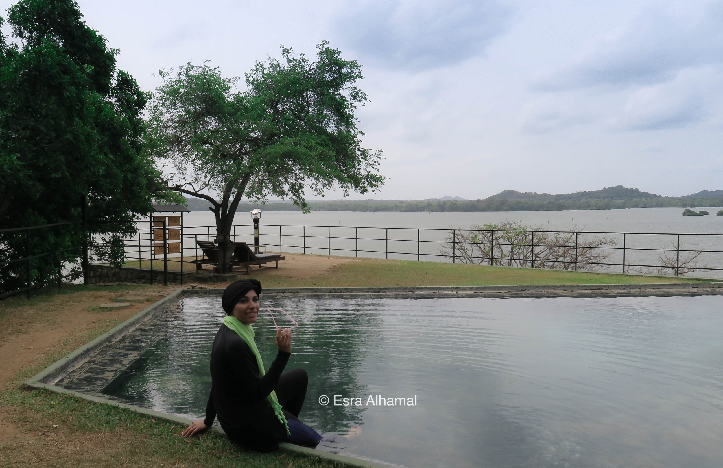 Enjoying the natural pool at Heritance Kandalama
