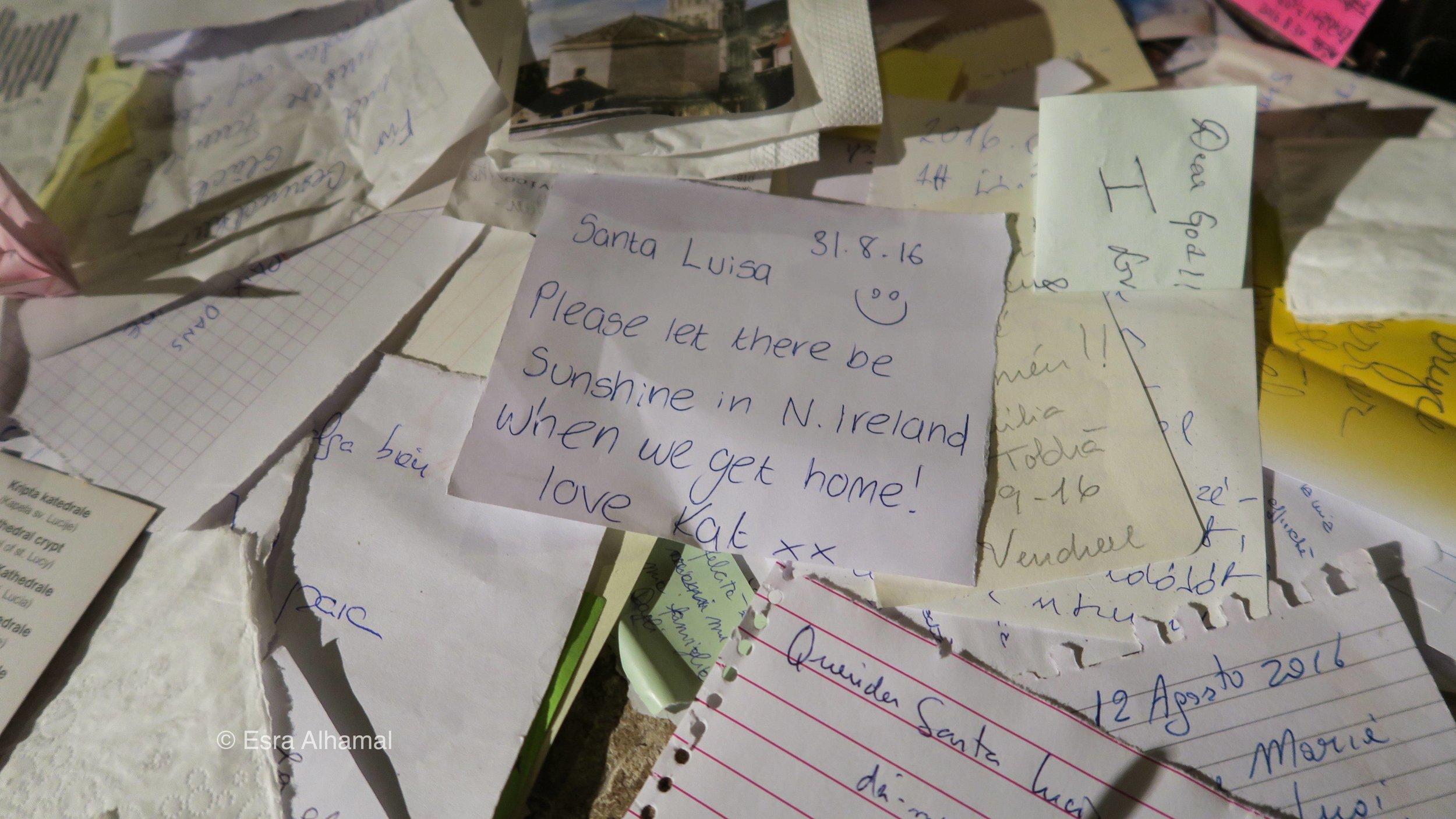Notes left to Santa Luisa