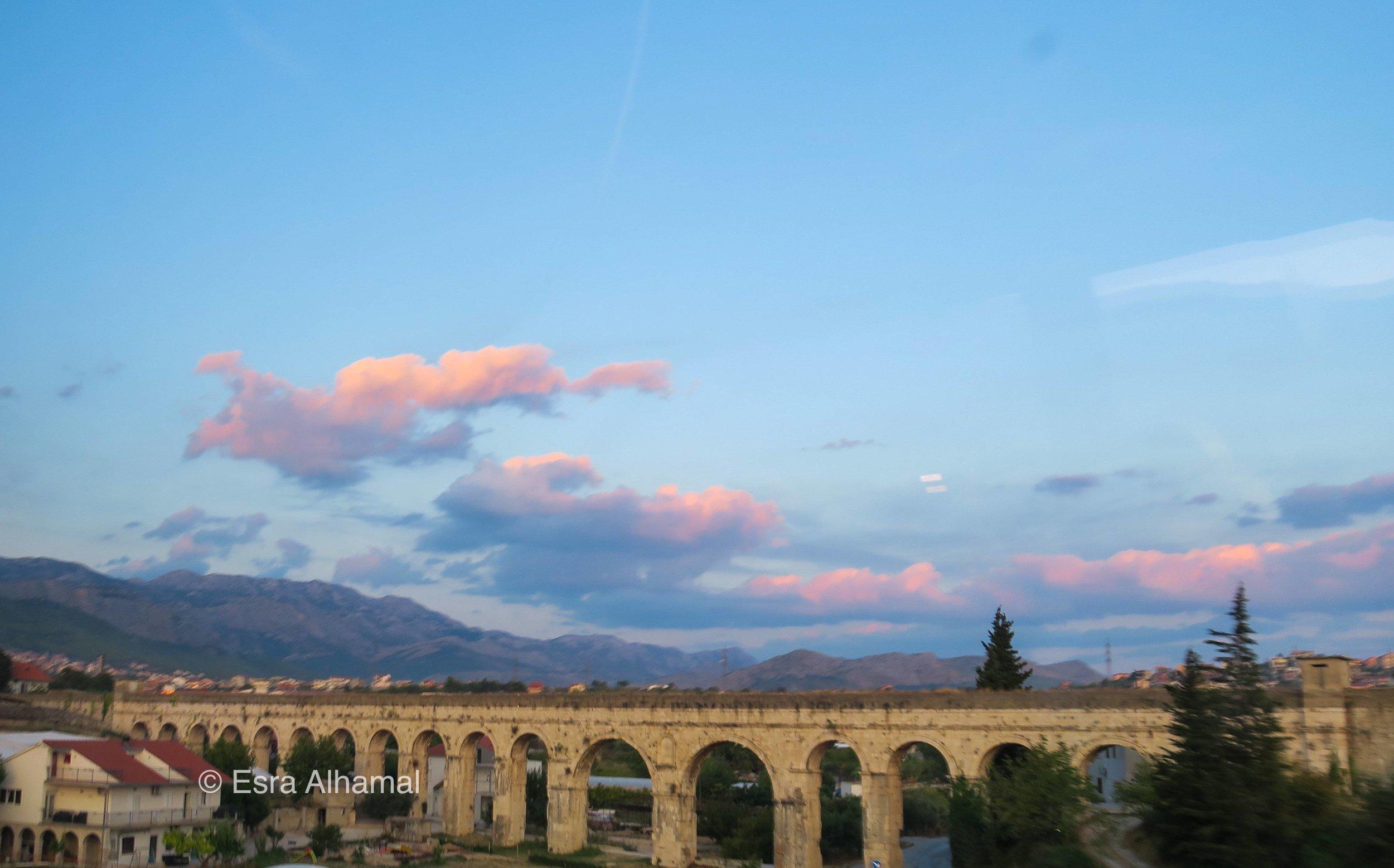 The sunset over the bridge in Split