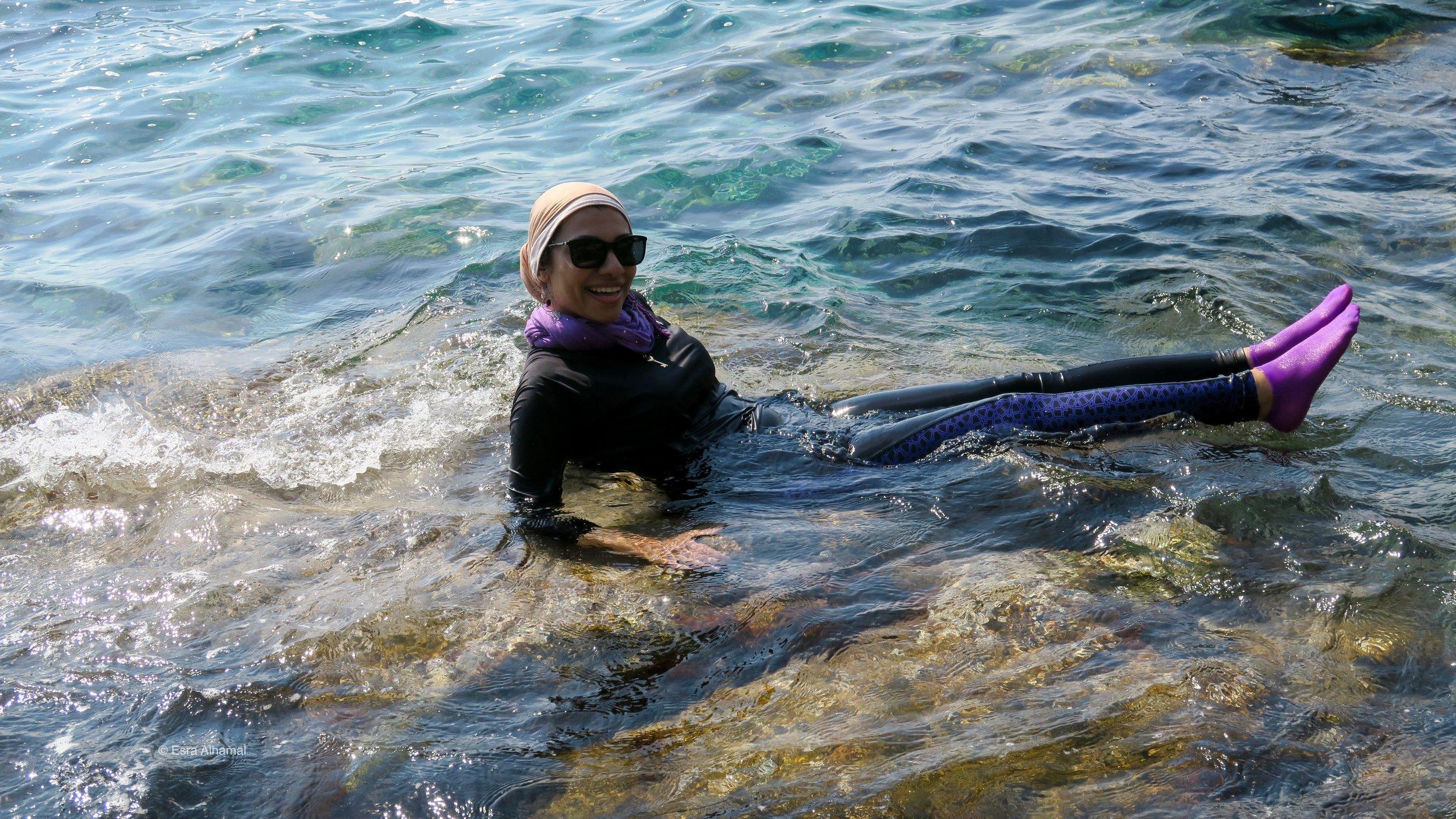 Improvised Modest Swimsuit: Water proof leggings and long sleeves   top + scarves + Waterproof socks