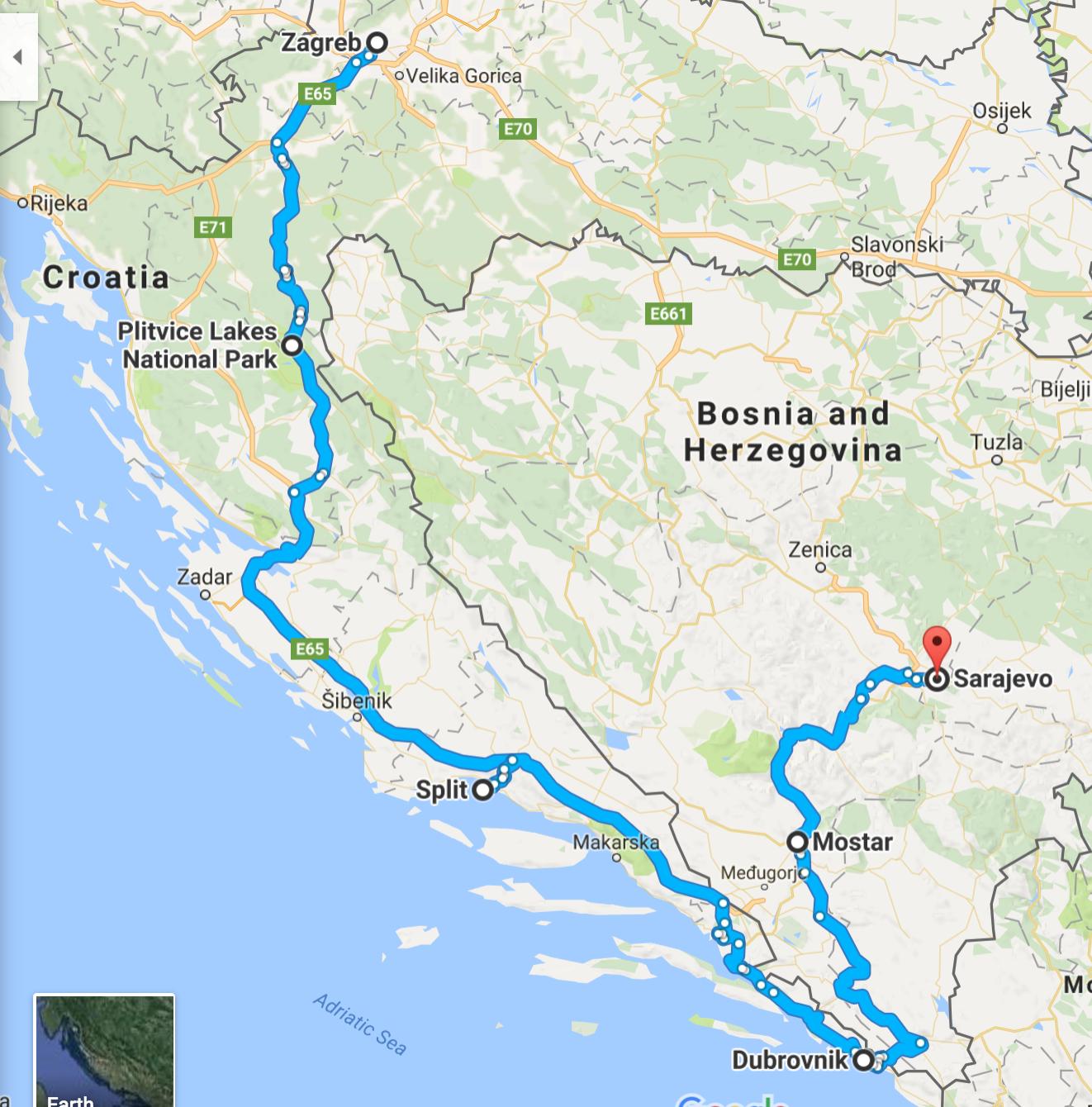 Croatia and Bosnia Trip itinerary