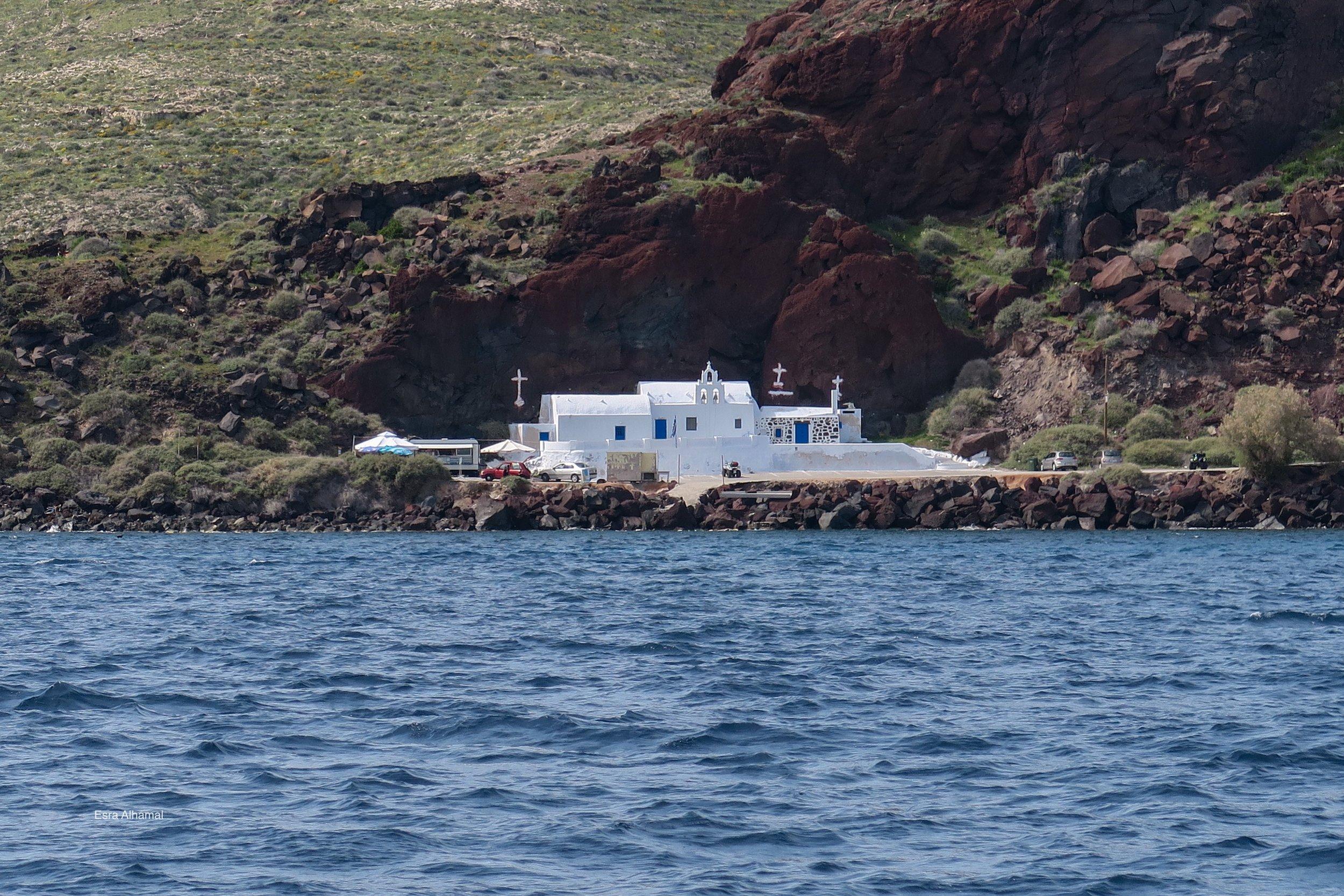 Church painted in white in Santorini