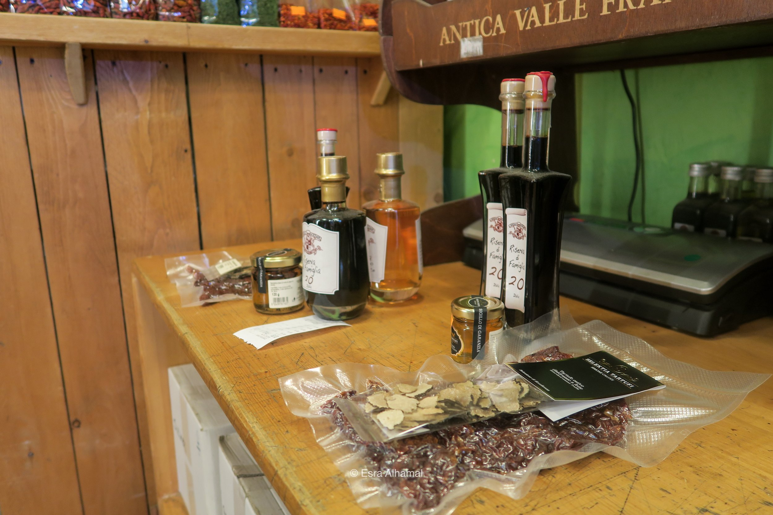 olive oil, balsamic vinegar and truffle in Mercato di San Lorenzo in Florence