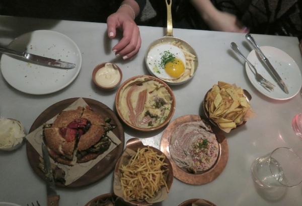 Yellow Fava Beans, Skordalia, Koulouri, 'Maniatiki' Mac n' Cheese & Ladenia 'Pizza'