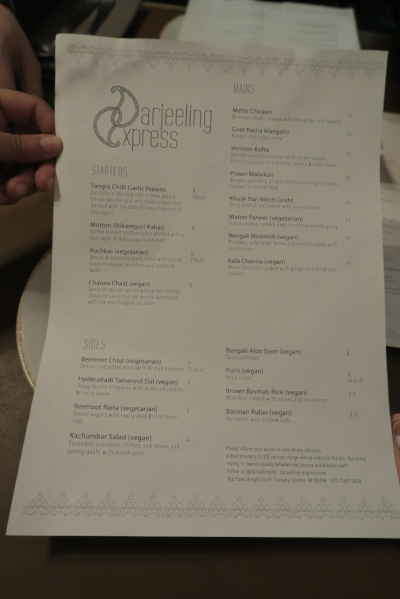 All halal indian menu London