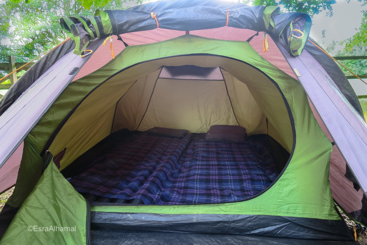 Inside a two man tent