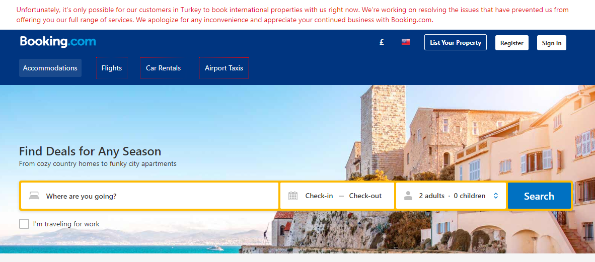 screen shot of what happens if you try to book..