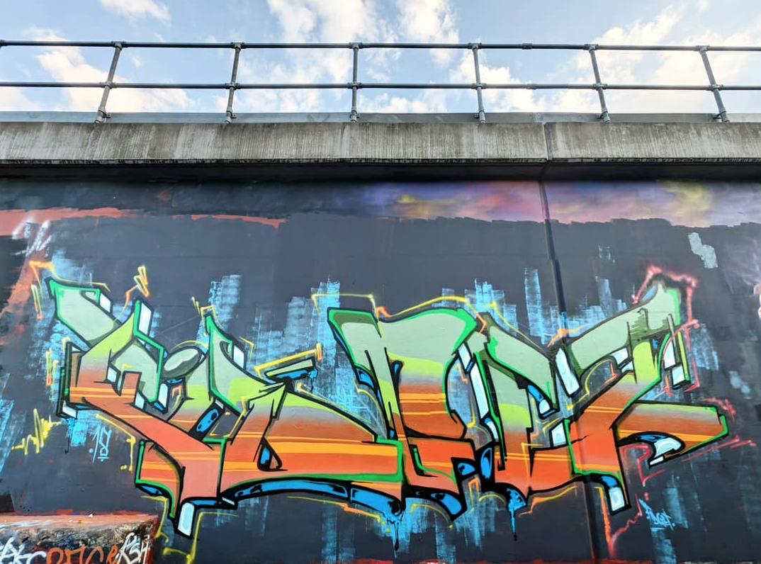 Graffiti Piece in Nomadic Community Garden, Shoreditch