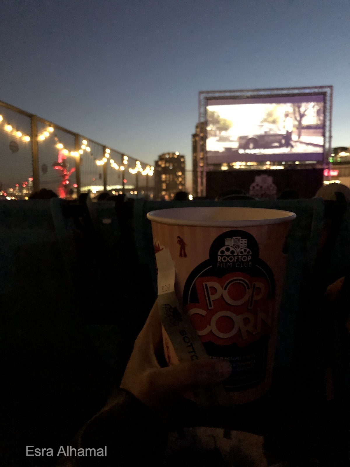 Rooftop cinema with a view