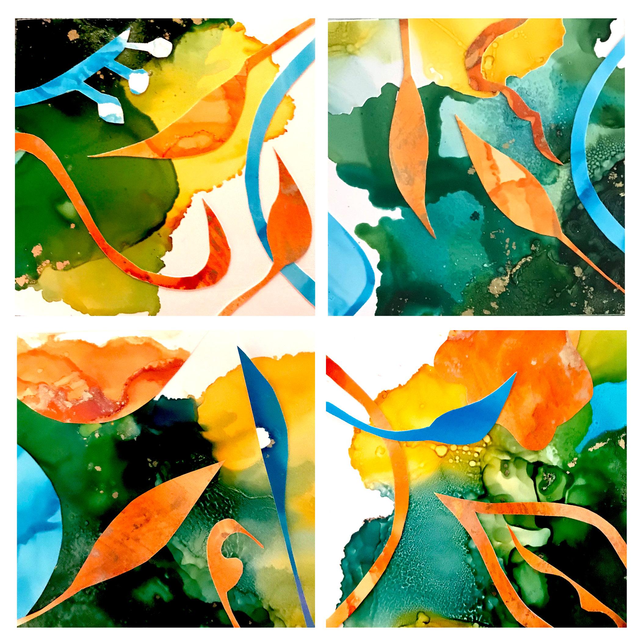 Paula Boyd Farrington's   Earth Goddess: Tendrils of Time & Tide ~ Reawakening   collage on panel with resin