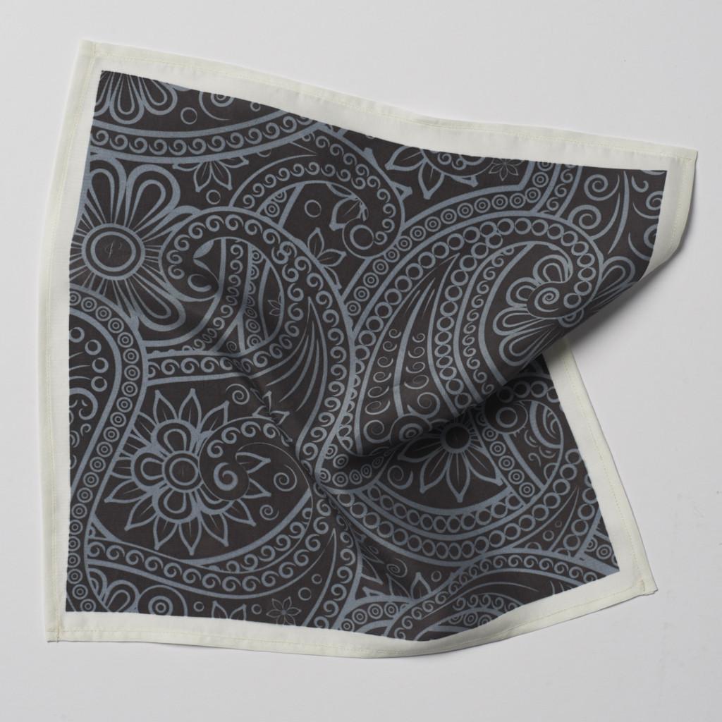 Black Grey Paisley Pocket Square
