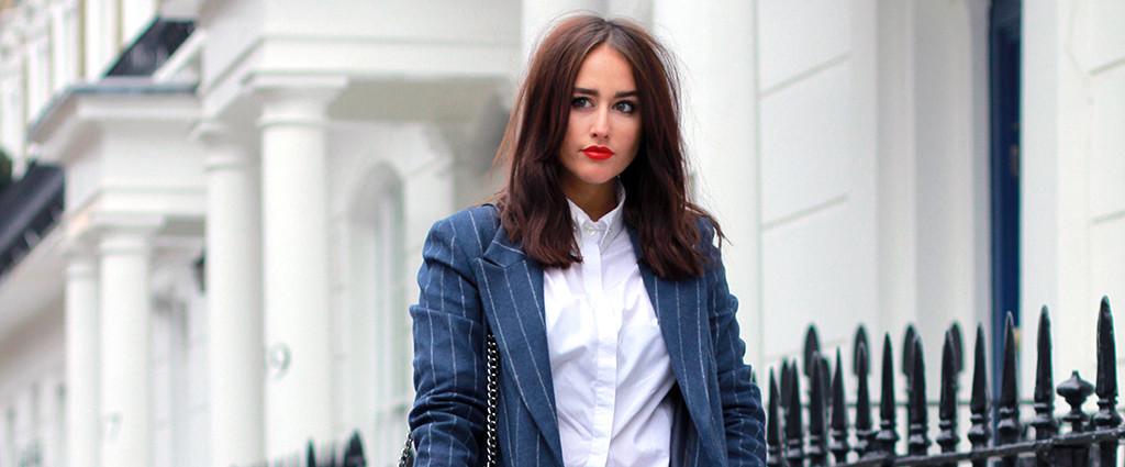 Sophie Milner aka FashionSlave.co.uk is wearing - Hawkins & Shepherd - Woman's White Pin Collar Shirt with Silver Swarovski Crystal Collar Pin Bar - £85 Shirt - £18 Collar Bar