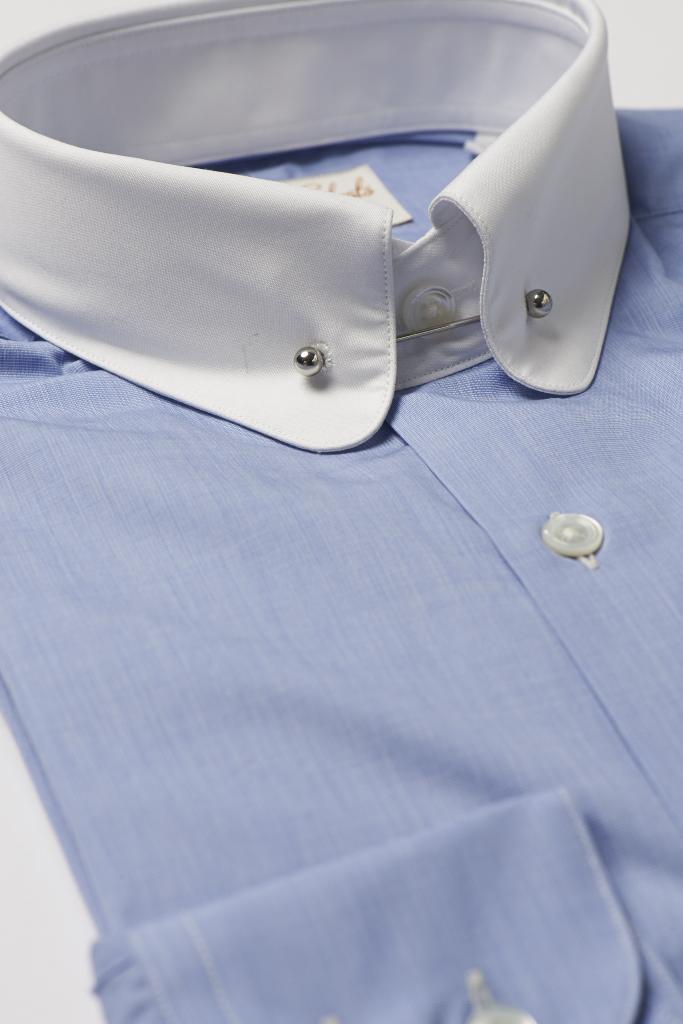 Blue Pin Collar Shirt