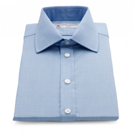 Turnbull and Asser - Blue prince of wales check shirt