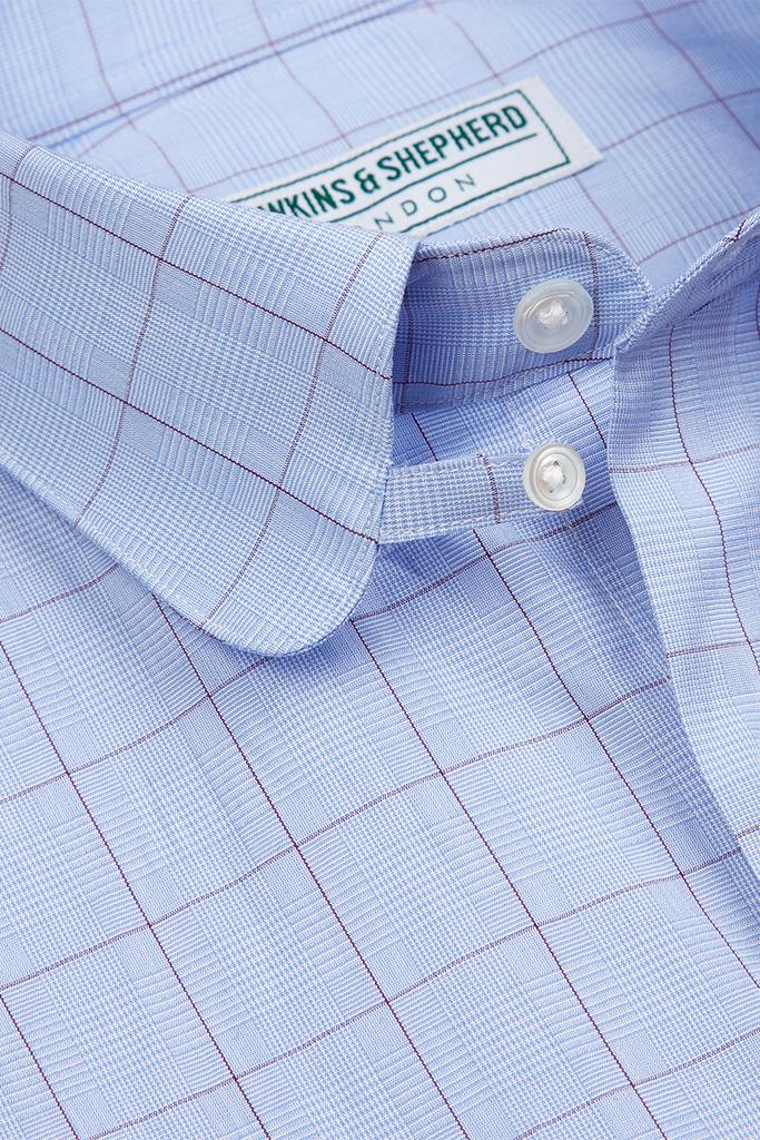 Hawkins & Shepherd Blue Purple Prince of Wales Check Shirt