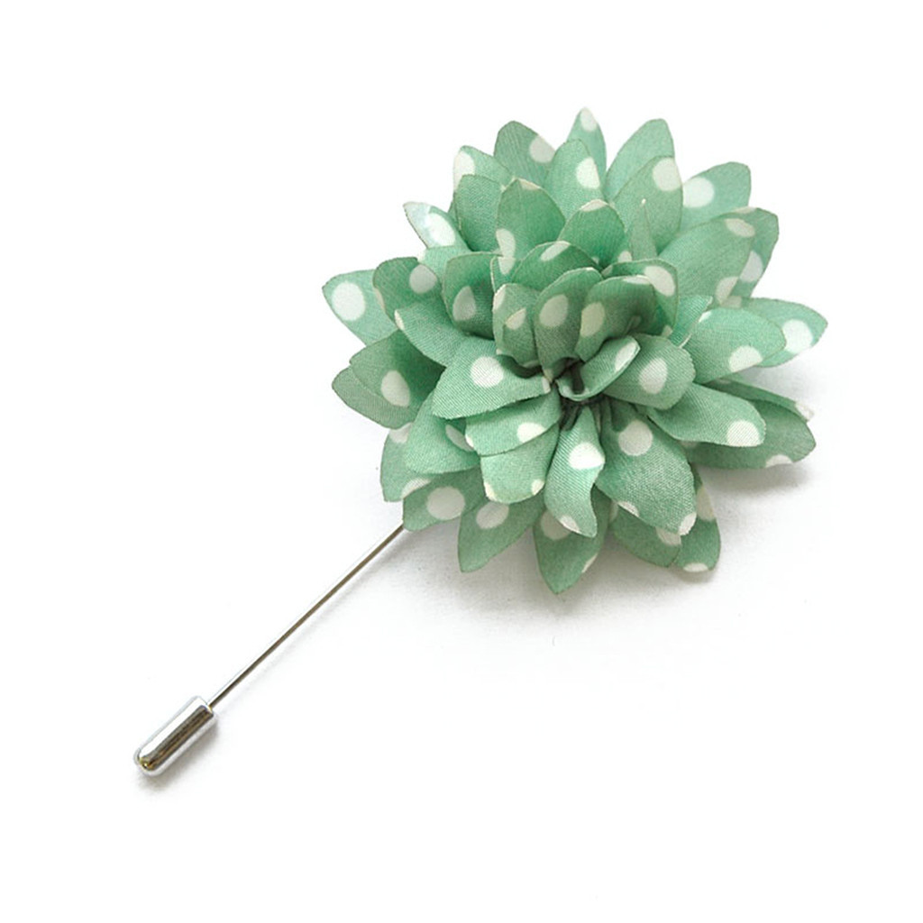 Green Polka Flower Lapel