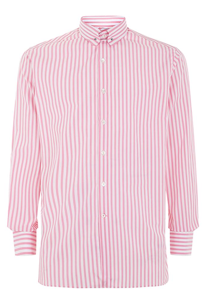 Pink Stripe Pin Collar Shirt