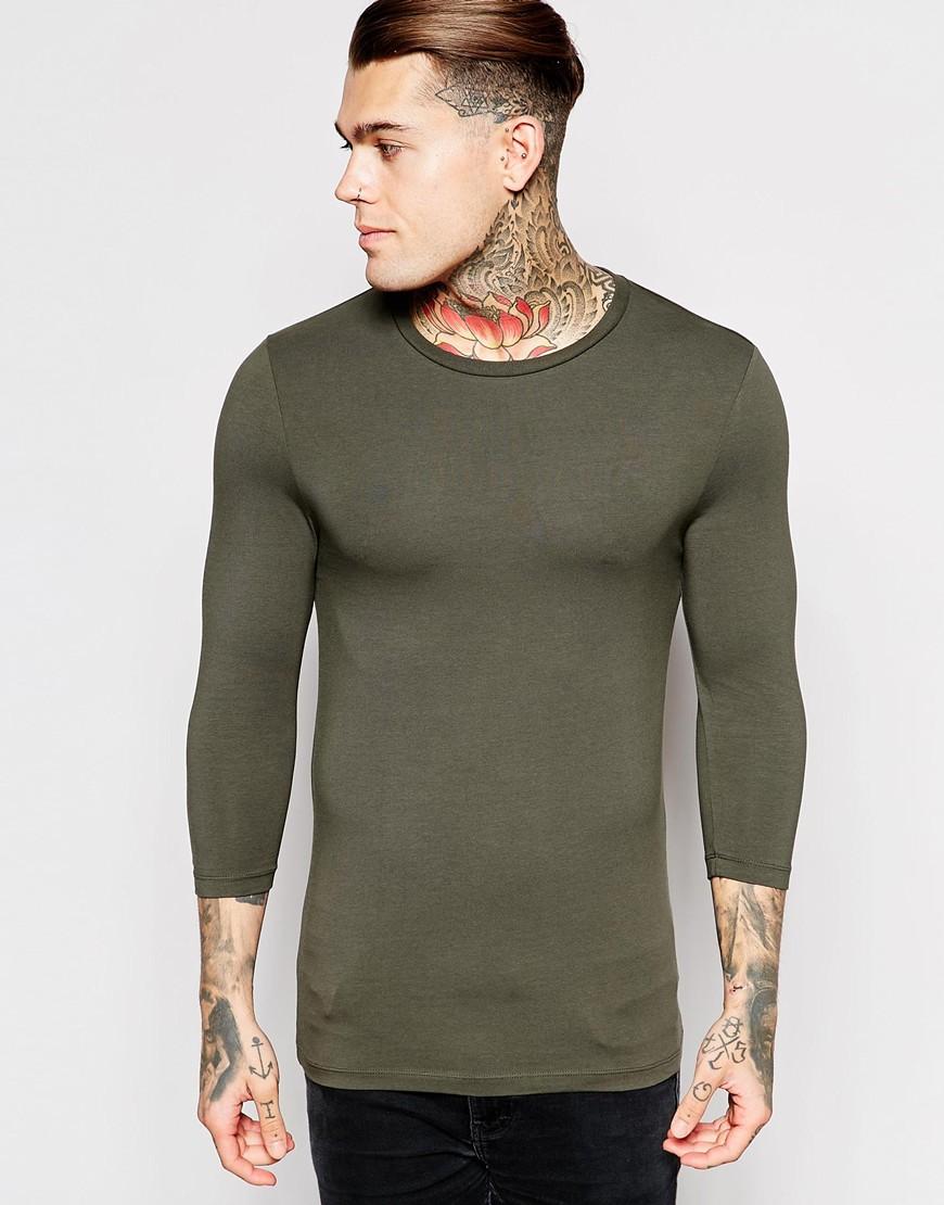 ASOS 3/4 Sleeve T-Shirt Khaki
