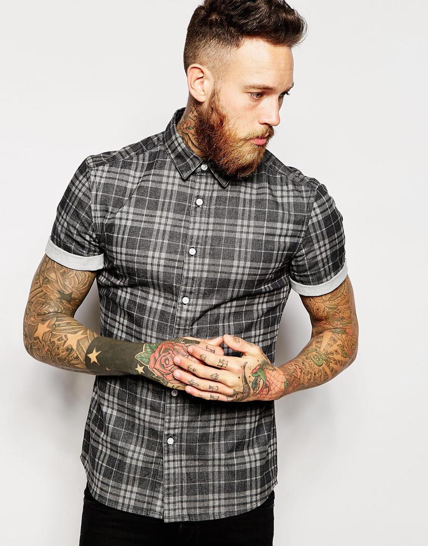 ASOS Black Check Short Sleeve Shirt