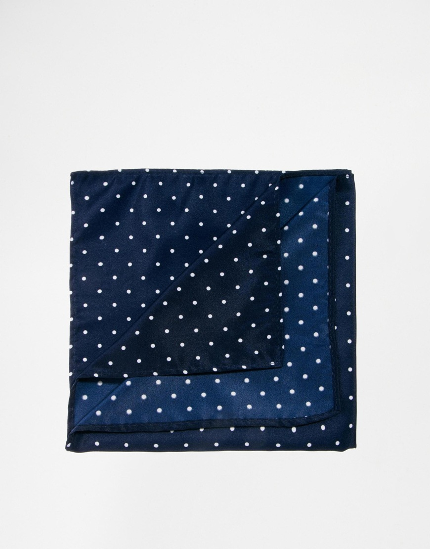 ASOS Pocket Square Navy Polka