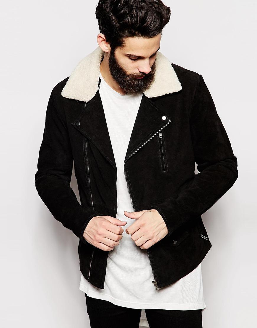 ASOS Black Shearling Jacket